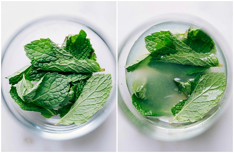 Image of the fresh mint leaves being added to the mint mojito