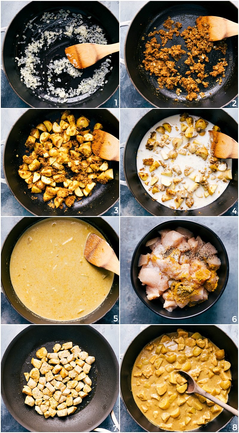 Process shots-- collage images of the onions being sauteed; spices being bloomed; potatoes added; coconut milk being simmered; and chicken being cooked.