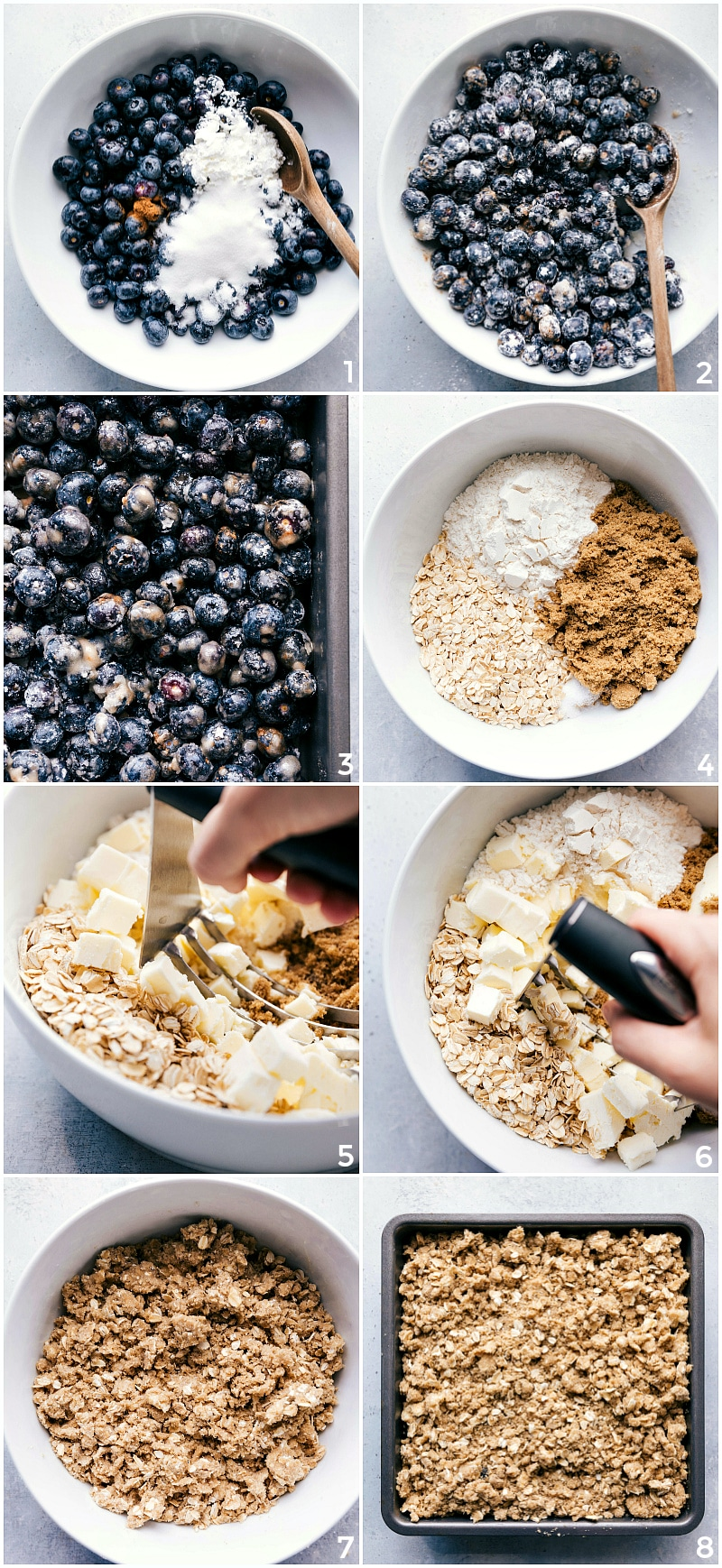 Process shots-- images of the blueberry crisp being made