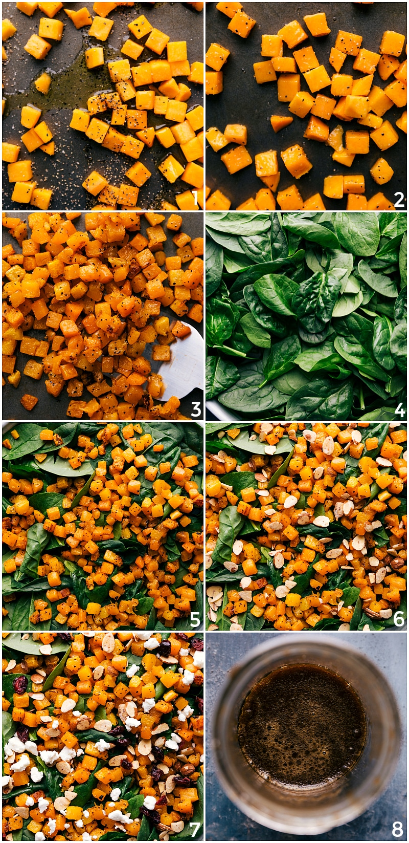 Process shots of making Thanksgiving Salad: roasting the butternut squash; adding spinach; adding extra toppings; creating the dressing.