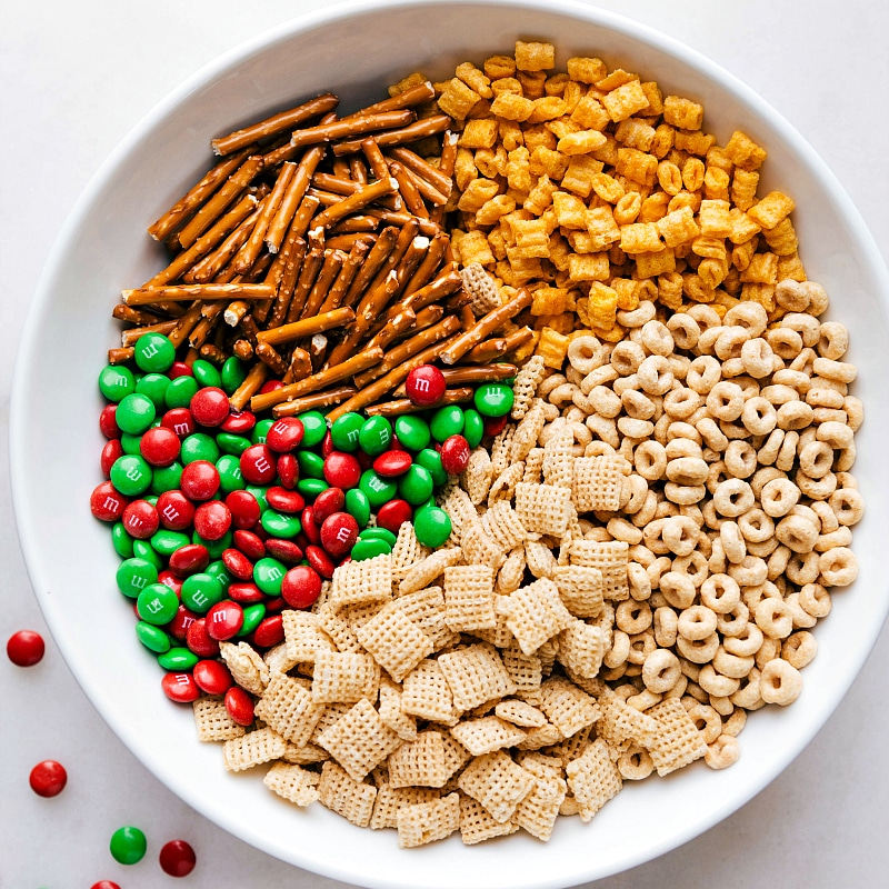 Overhead image of the ingredients in this Christmas snack mix recipe