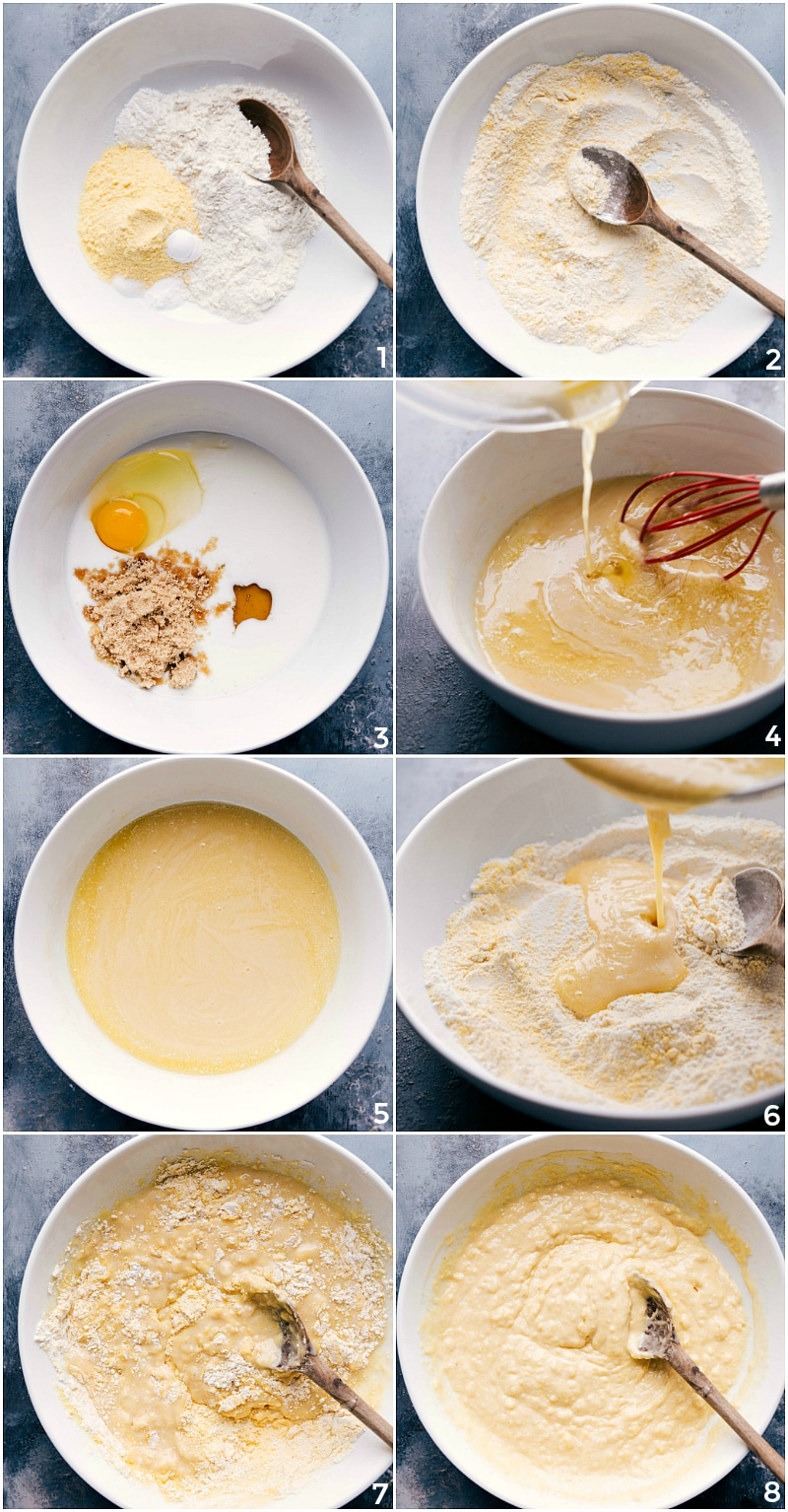 Process shots-- image of Cornbread Muffin batter being prepared: combining dry ingredients; combining wet ingredients; adding dry to wet ingredients; mixing the batter just enough to incorporate all ingredients.