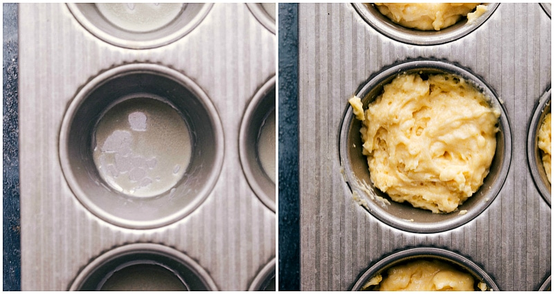 Image of the muffin batter being added to the prepared muffin tin.