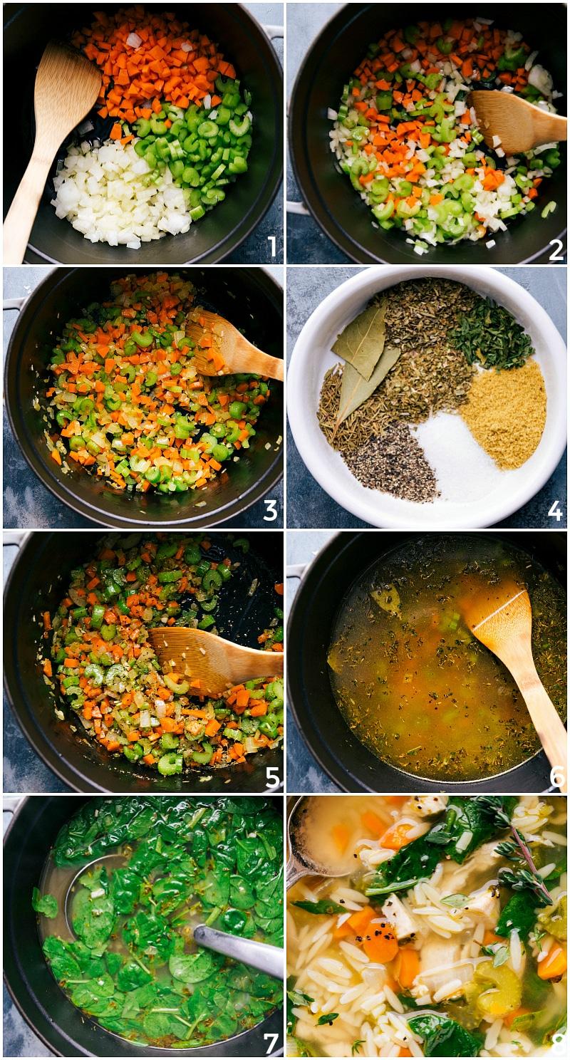 Process shots-- images of Lemon Chicken Orzo Soup.