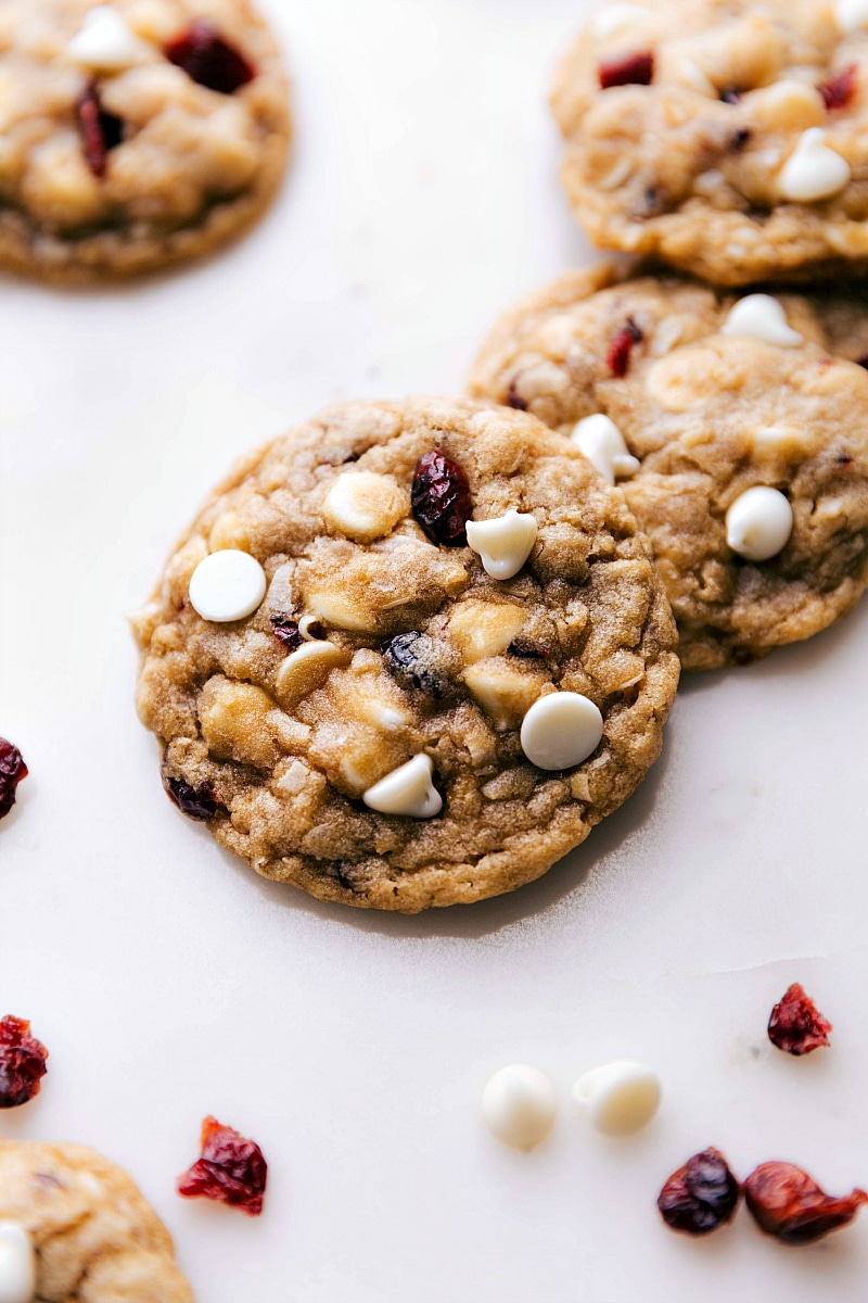 Overhead image of Oatmeal Cranberry Cookies