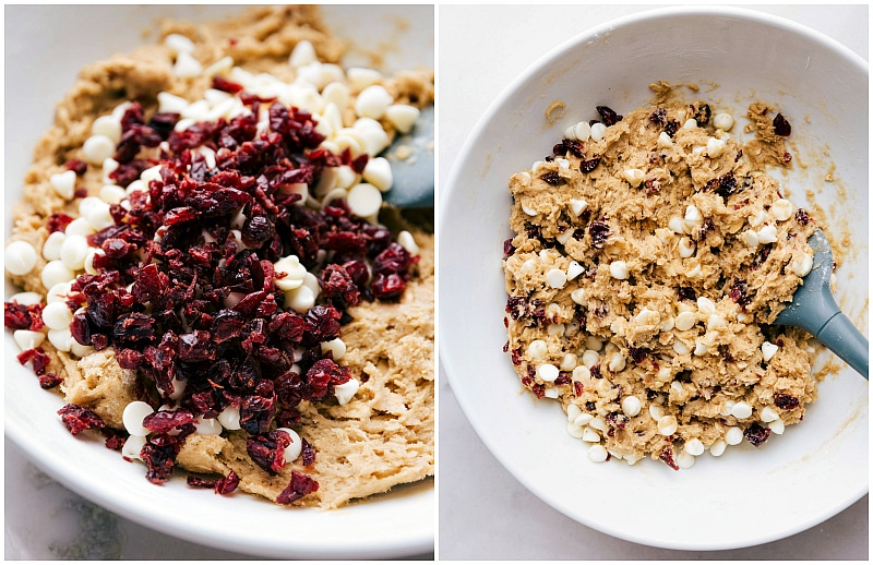 Images of the last two steps of mixing up Oatmeal Cranberry Cookies: adding in the goodies(cranberries and white chocolate chips) and giving it all one last stir.