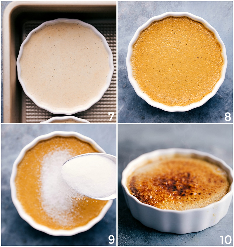 Overhead image of Pumpkin Créme Brûleé being cooked; the sugar topping being added on top; the finished brulee'd topping.