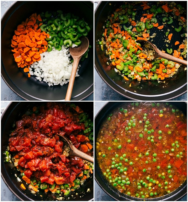 Process shots-- images of the vegetable soup being made: placing mirepoix in the pan; sauteing the chopped vegetables; adding fire-roasted diced tomatoes; adding frozen corn and peas as well as chicken broth.