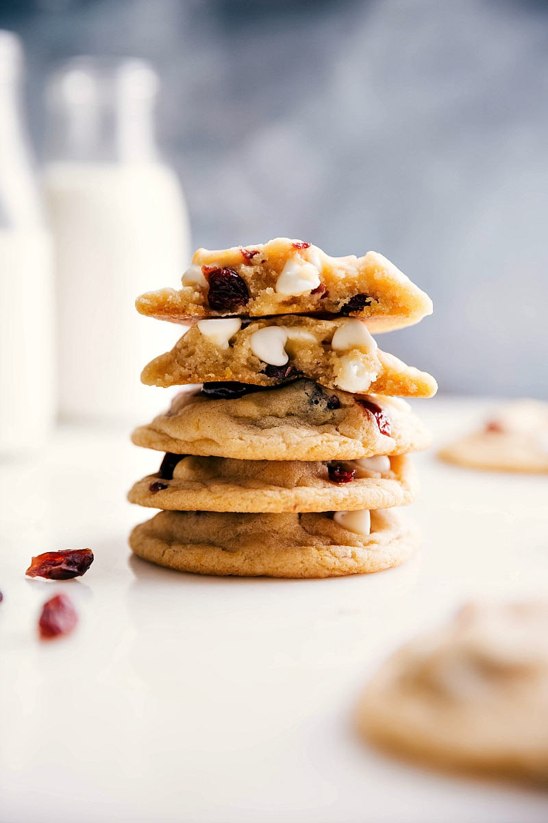 Up-close image of a stack of White Chocolate Cranberry Cookies.