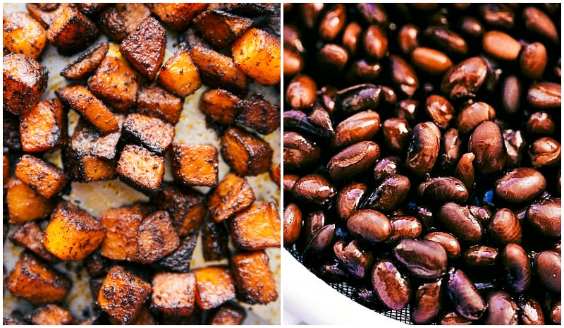 Overhead image of the roasted butternut squash and the black beans prepped and ready for the tacos