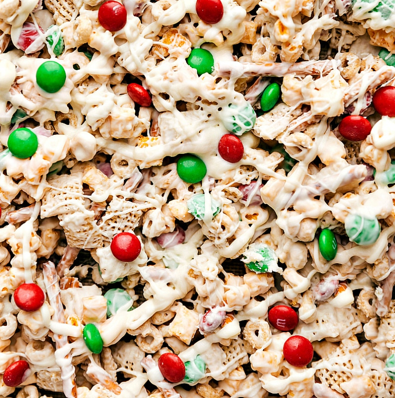 Overhead image of the Christmas snack mix