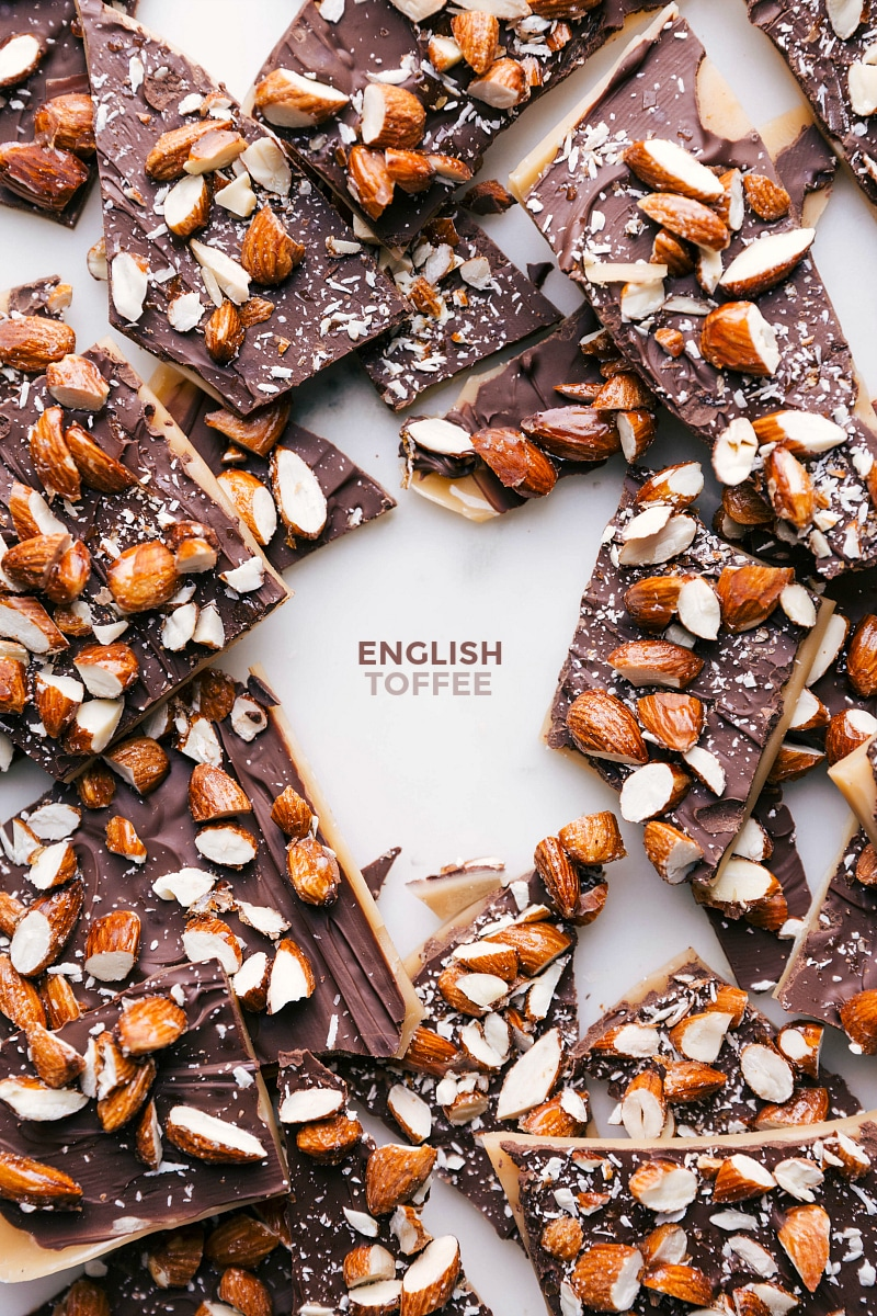Overhead image of the English toffee ready to be eaten