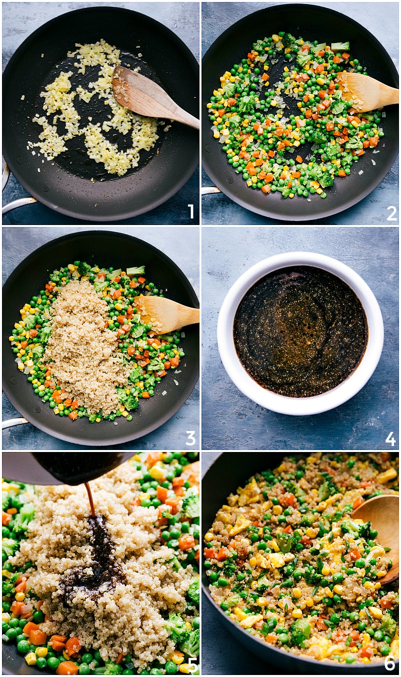Process shot-- image of the veggies being cooked and quinoa and sauce being added to the fried rice