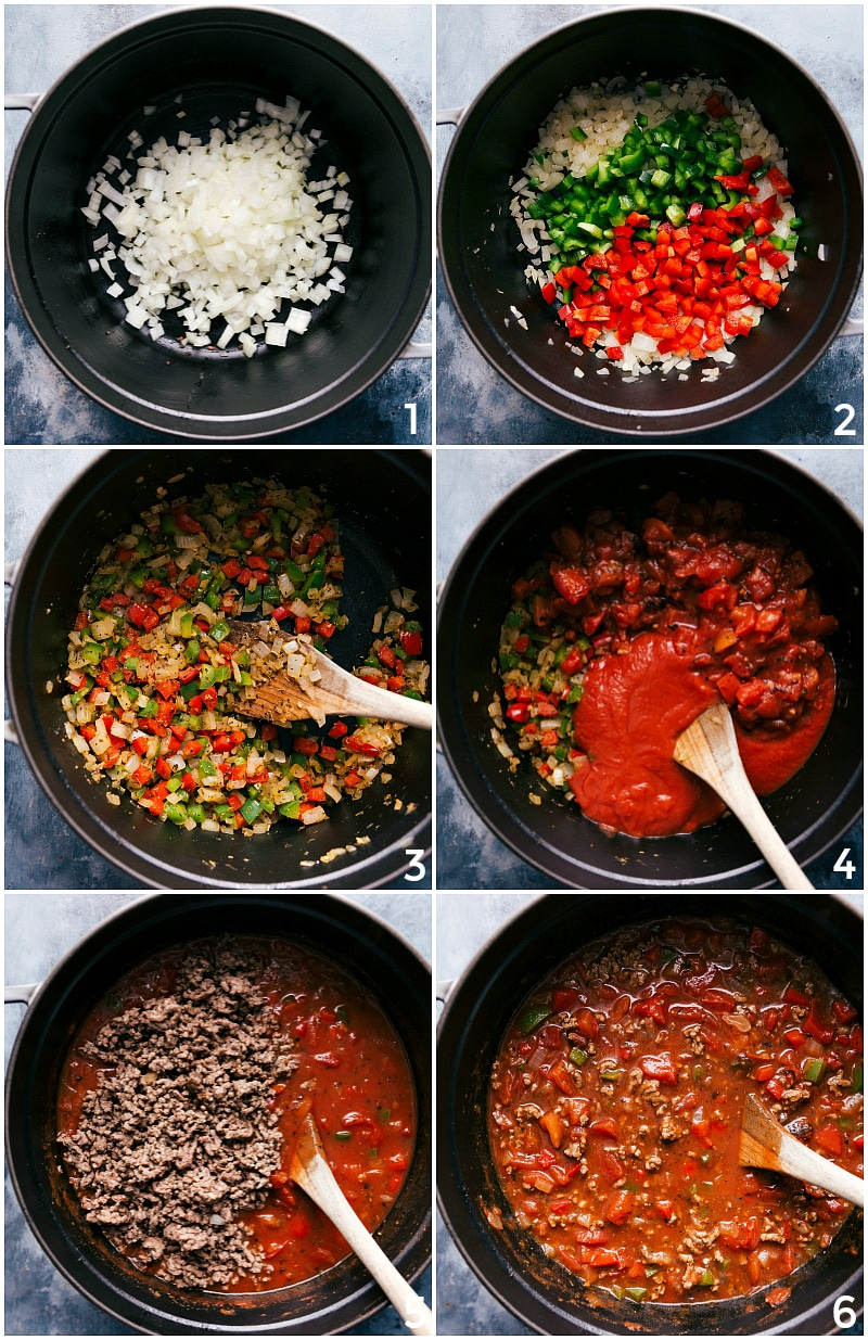 Process shots-- images of Stuffed Pepper Soup recipe being made on the stove top