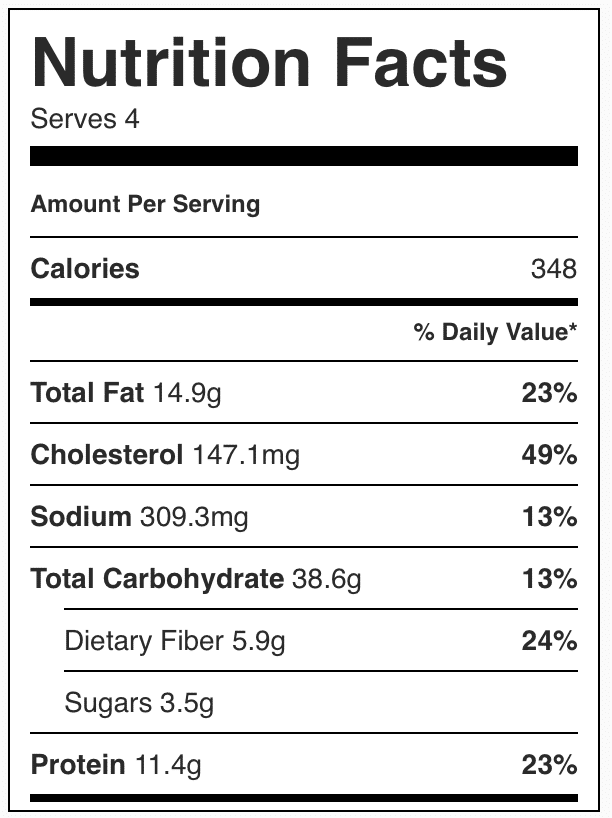 Nutrition facts in fried rice