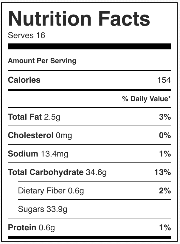 Nutrition facts in honeycomb candy