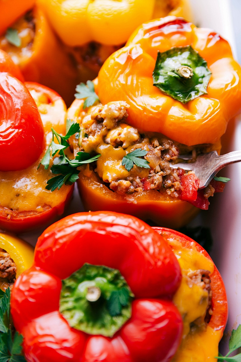 Up-close image of Stuffed Peppers, ready to be eaten.