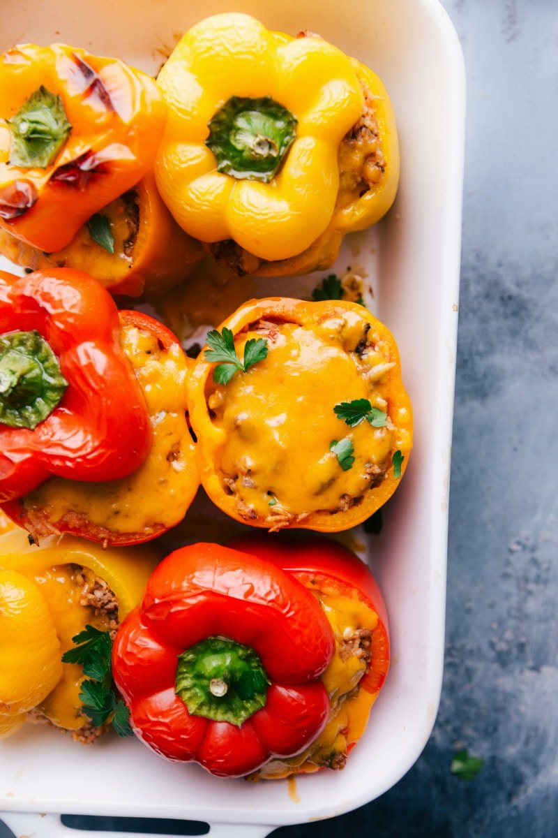 Overhead image of Stuffed Peppers baked and ready to serve.