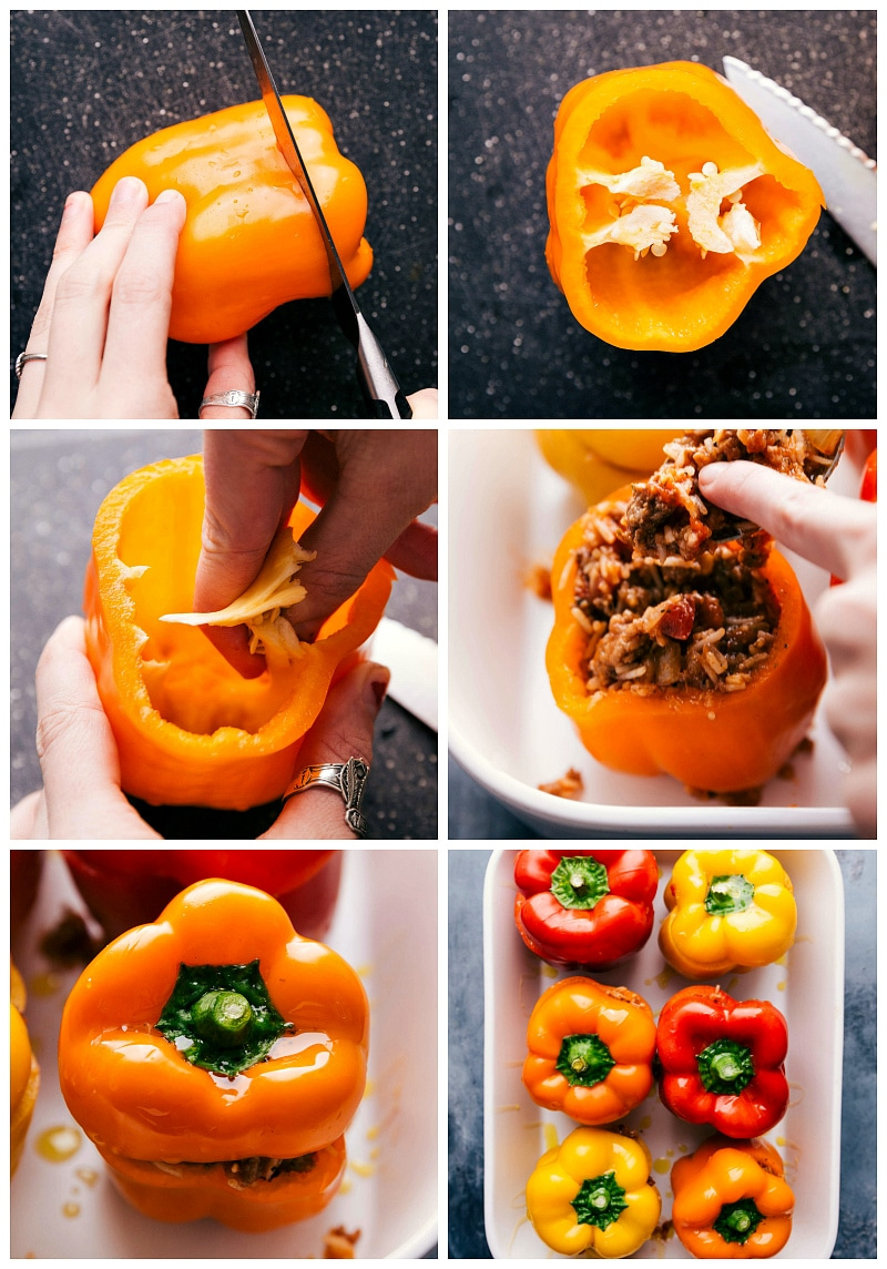 Process shot of the bell peppers being hollowed out and stuffed with filling.