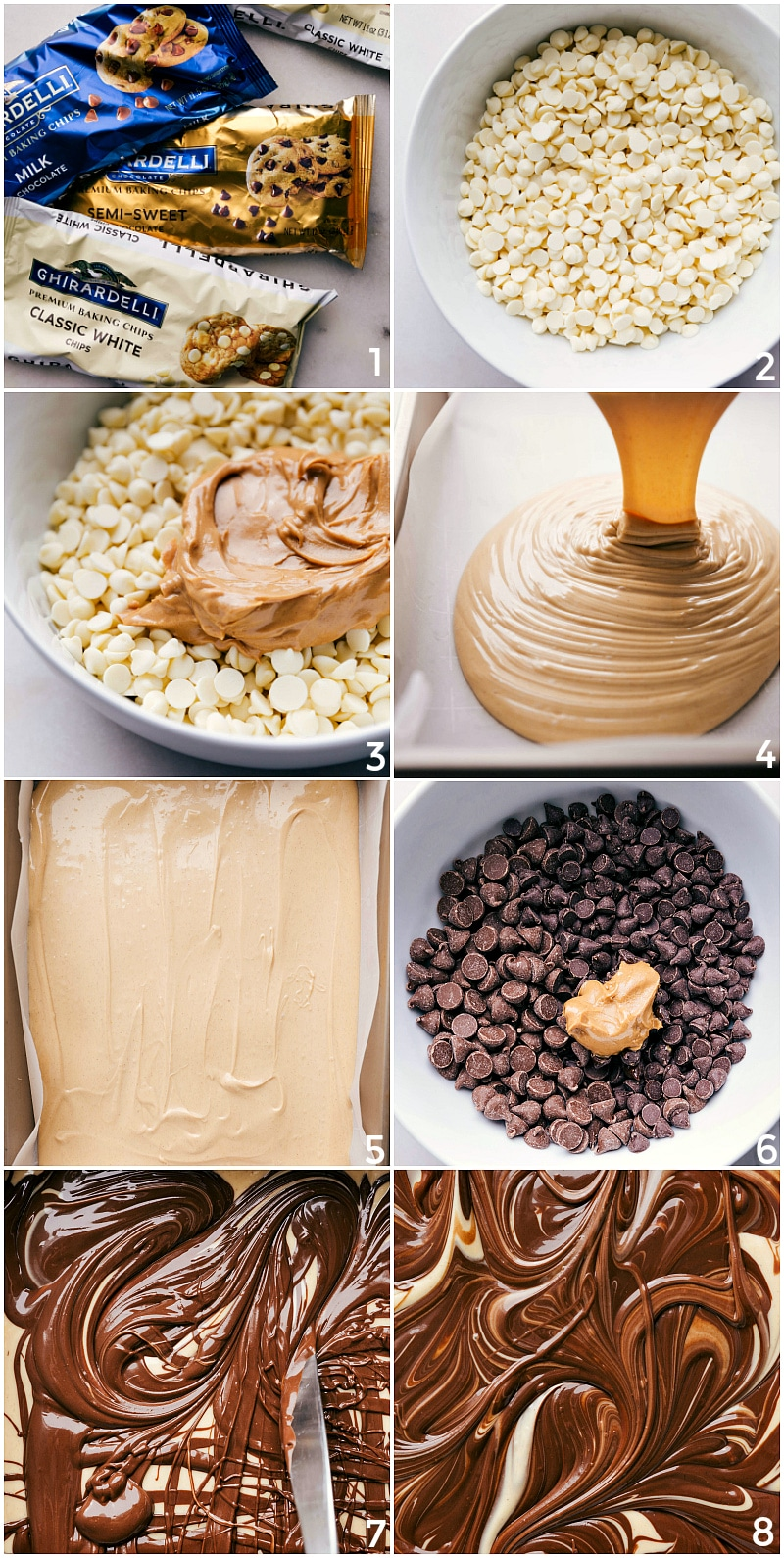 Process shots of the tiger butter fudge recipe being made