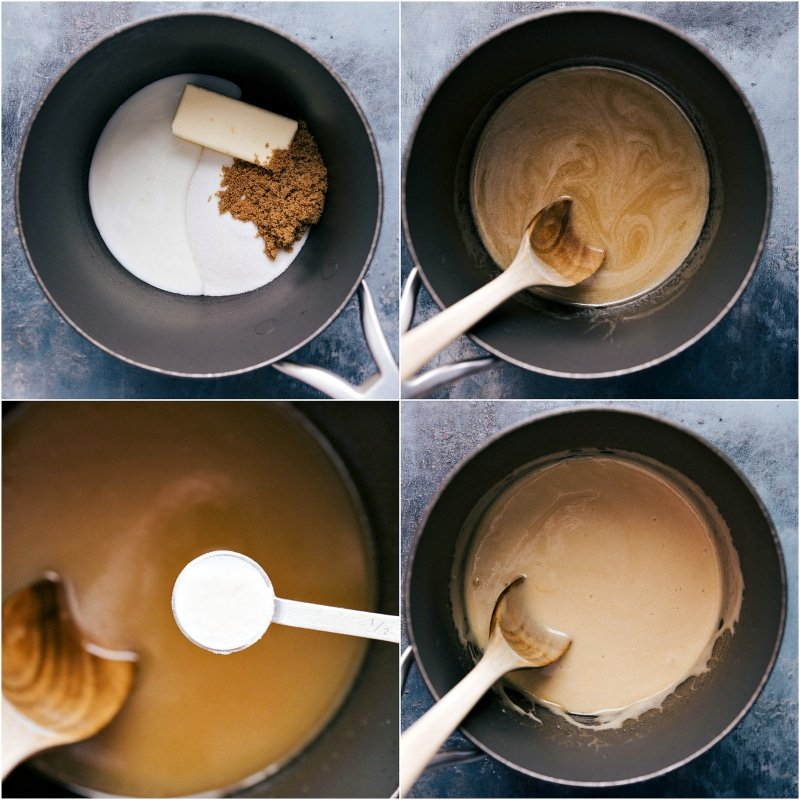 Process shots--images of the syrup being made showing the ingredients being added and then stored together over high heat