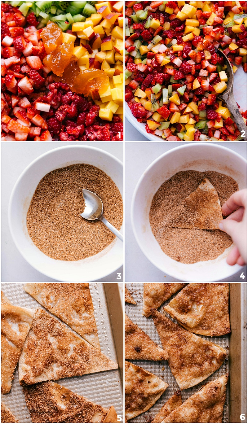Process shots-- images of the chips being dipped in cinnamon sugar and images of the fresh fruit salsa being mixed together.