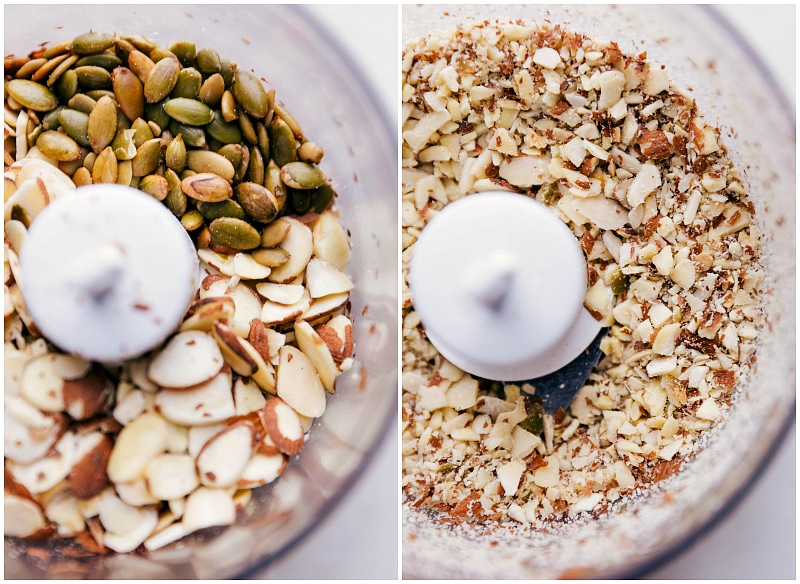 Process shots-- images of the nuts and seeds being pulsed together