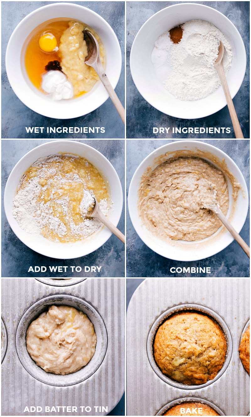 Images of the wet and dry ingredients for Healthy Banana Muffins; then the wet and dry being combined and mixed together and poured into a muffin tin.