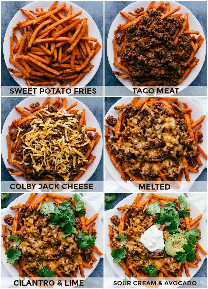 Process shots-- images of the sweet potato fries being topped with the meat, cheese, and other toppings for Loaded Taco Fries.