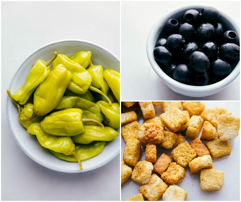 Ingredient shot-- images of the pepperoncinis, croutons, and olives that go in this salad