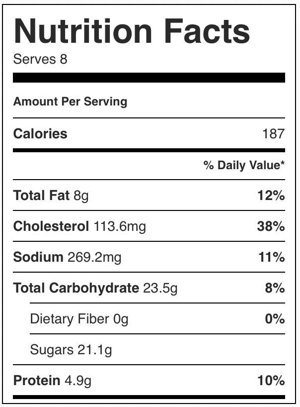 Nutrition facts in Oreo fluff