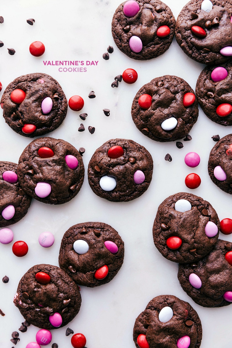 Overhead image of Valentine Cookies baked and ready to be eaten.