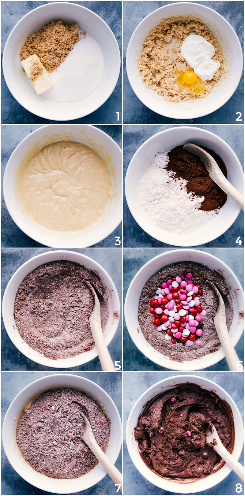 Process shot-- images of Valentine's Cookie dough being made