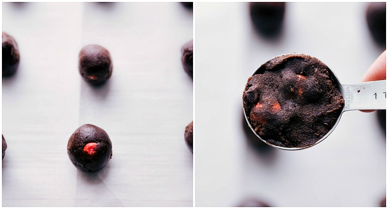 Process shots-- images of the cookie dough being measured and then rolled onto the sheet pan to be baked.