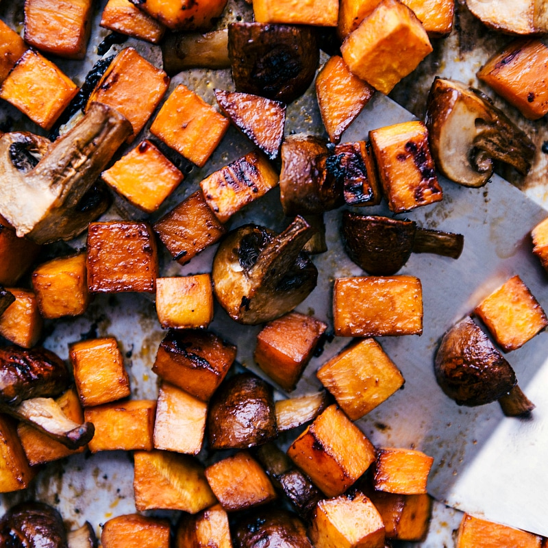 Process shot-- image of the roasted sweet potato and mushrooms that go in the wrap fresh out of the oven
