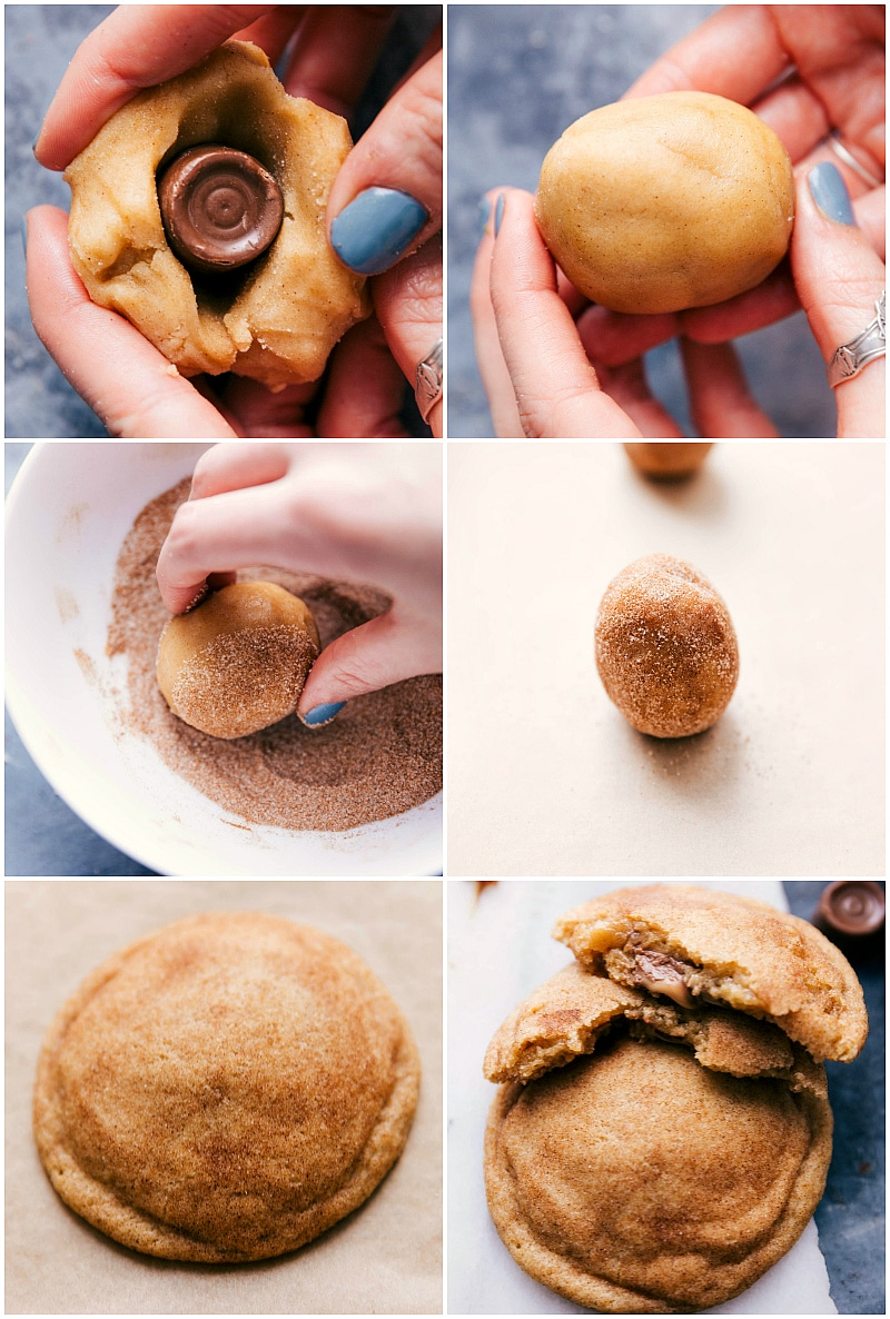 Image of the Rolos being added to the center of the dough balls and then the dough being rolled in cinnamon sugar and baked.