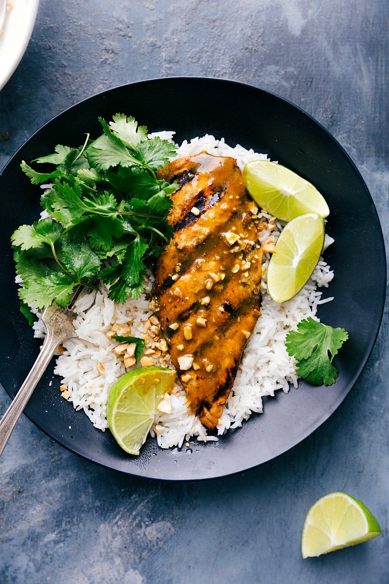 Overhead image of Grilled Curry Chicken