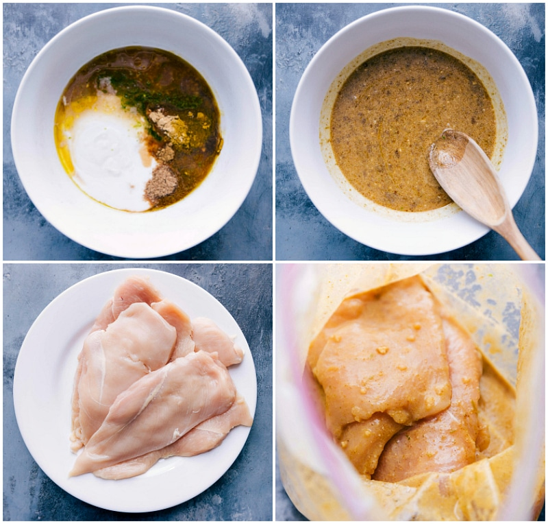 Overhead image of the marinade being made and then the chicken being added to the marinade and put in a plastic bag in the fridge to marinate.