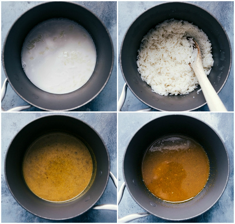Images of the coconut rice and the curry sauce being made.