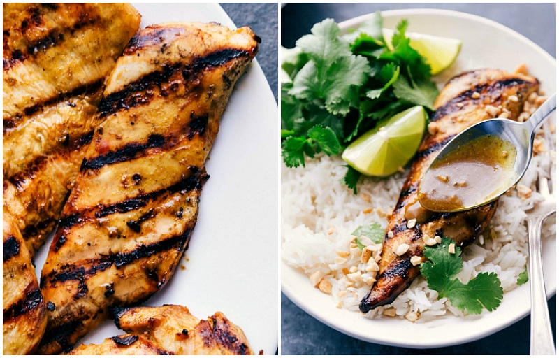 Images of the grilled chicken fresh off the grill with the extra curry sauce being poured over.