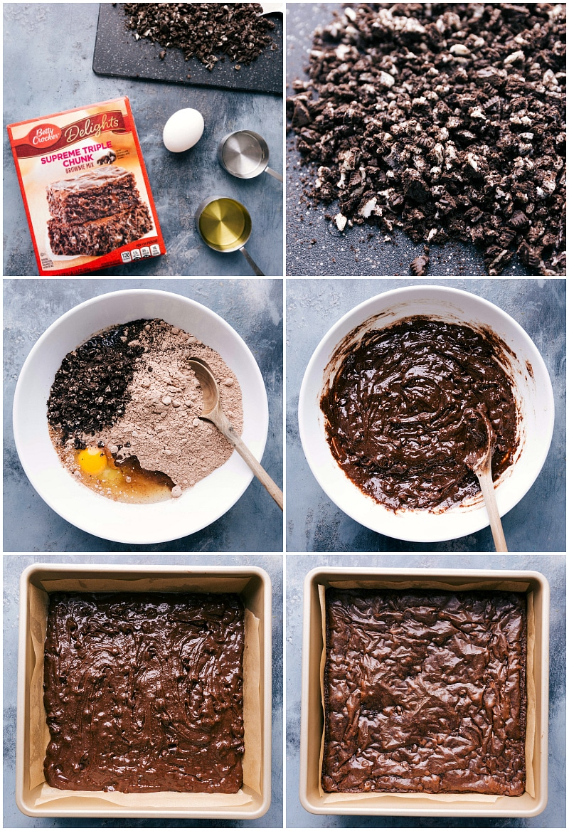 Process shots-- images of the brownie mix being made and then Oreos being added to dough and then the batter being poured into the prepared pan and baked