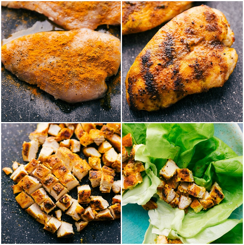 Process shot--four images of a boneless, skinless chicken breast: raw, sauteed, chopped and in the salad. recipe: https://www.chelseasmessyapron.com/peanut-chicken-lettuce-wraps/