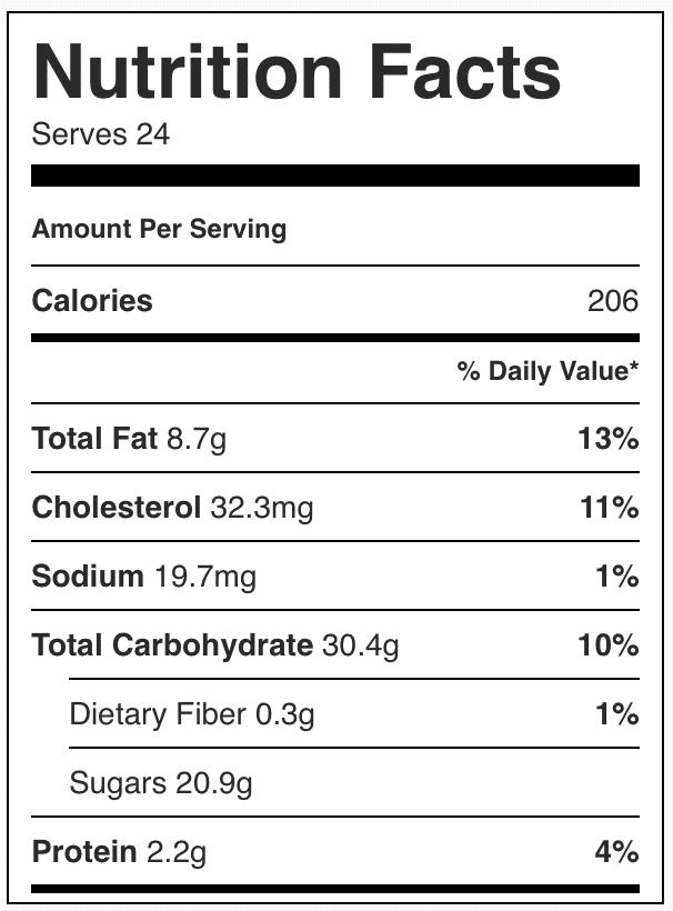 Nutrition facts in confetti bars