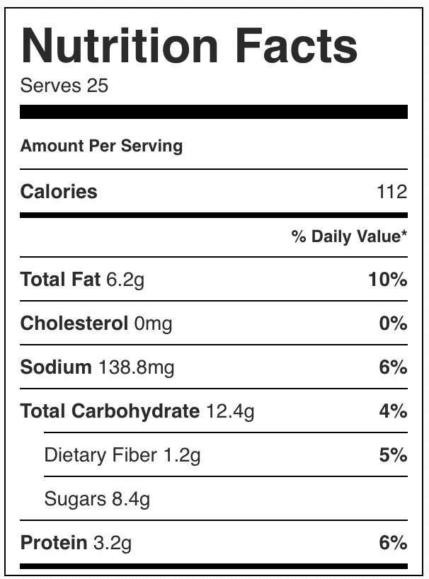 Nutrition facts in chocolate energy bites