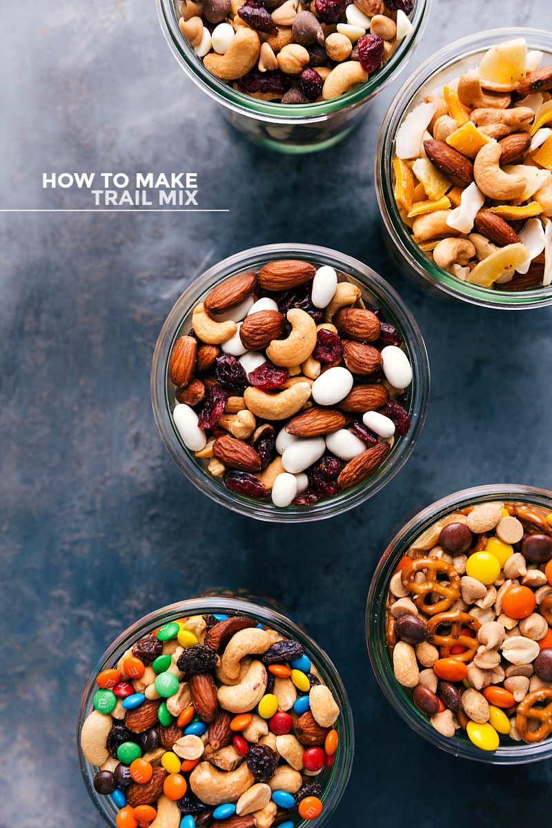 Overhead shot of all five trail mix versions.