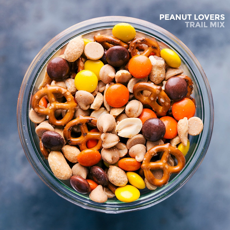 Overhead view of of Peanut Lover's Trail Mix.