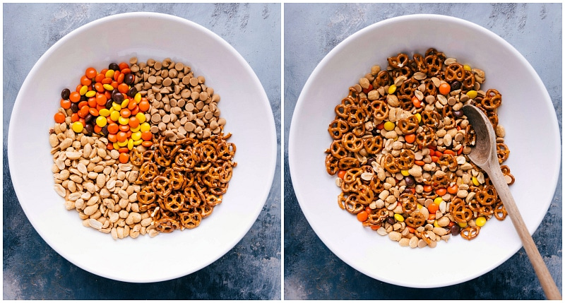 Overhead view of the ingredients for Peanut Lover's Trail Mix.