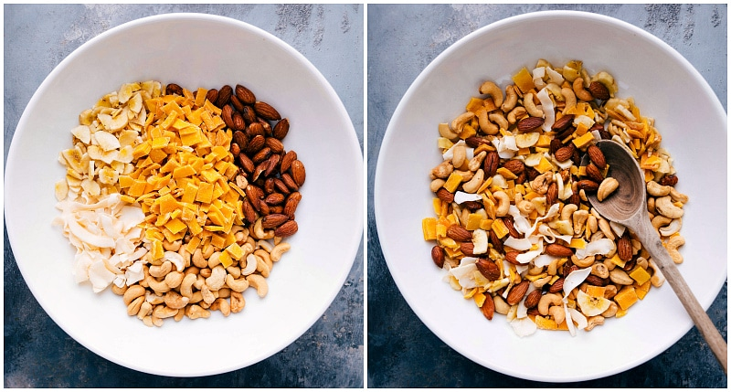 Overhead shot of the ingredients for Tropical Trail Mix; photo of the ingredients being mixed together.