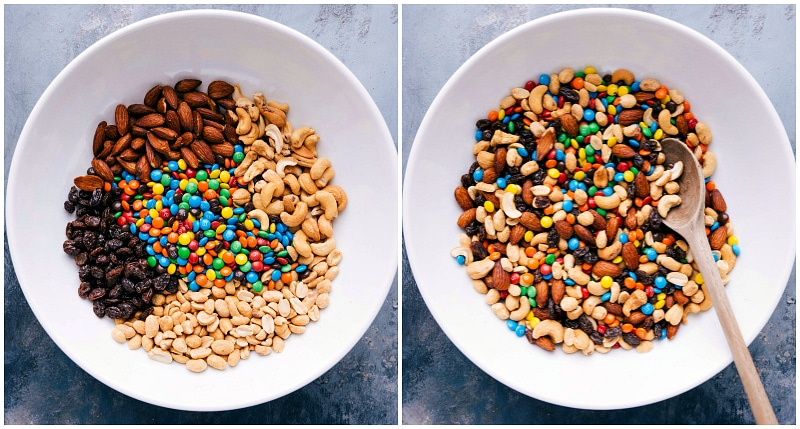 Overhead shot of the ingredients for Mountain Trail Mix.