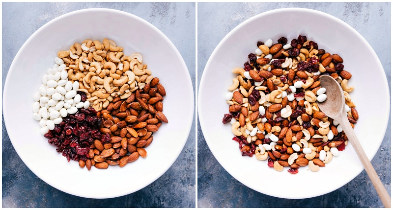 Overhead view of the ingredients for Healthy Trail Mix.
